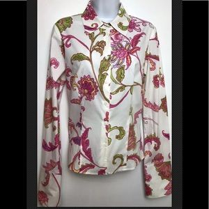 ETCETERA Blouse Shirt  Floral French Cuff